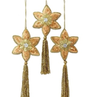 Set of 3 Handcrafted Polyester 'Golden Poinsettia' Beaded Ornaments (India)