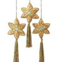 Set of 3 Handmade Polyester 'Golden Poinsettia' Beaded Ornaments (India)
