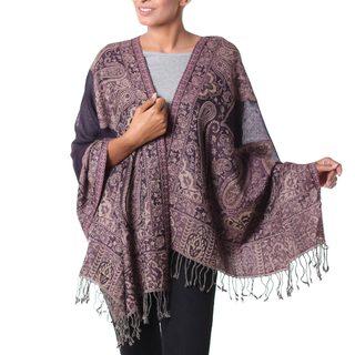 Handmade Wool 'Kashmiri Valley' Shawl (India)