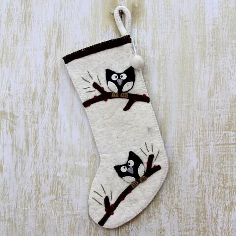 Handmade Wool Felt 'Jolly Owls' Holiday Stocking (India)