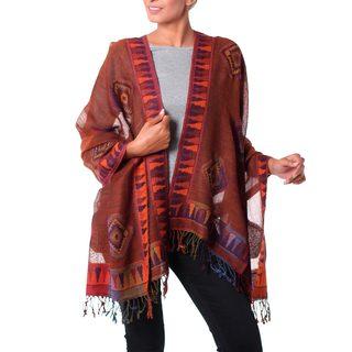 Handmade Wool 'Tribal Earth' Jamawar Shawl (India)