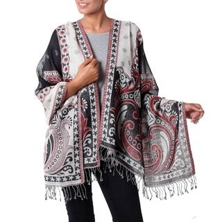 Handcrafted Wool 'Agra Night' Jamawar Shawl (India)