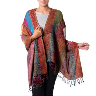 Handcrafted Wool 'Modern Paisley Rainbow' Shawl (India)