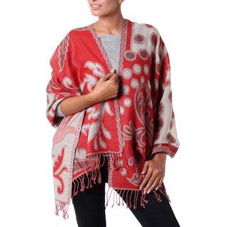 Handmade Wool 'Modern Red' Jamawar Shawl (India)