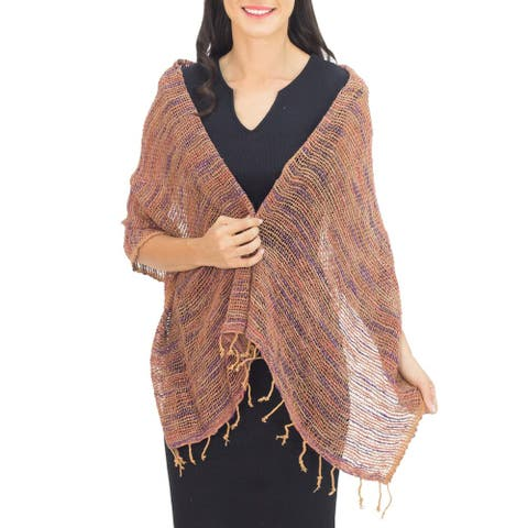 NOVICA Handmade Cotton 'Breeze of Brown Purple' Shawl (Thailand)