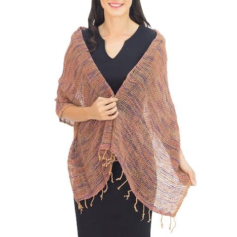 Handmade Cotton 'Breeze of Brown Purple' Shawl (Thailand)