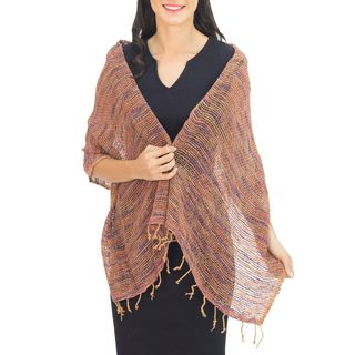 Handcrafted Cotton 'Breeze of Brown Purple' Shawl (Thailand)