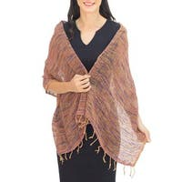 Handmade Cotton 'Breeze of Brown Purple' Shawl (Thailand)