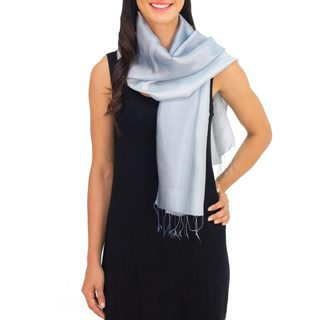Handmade Rayon Silk Blend 'Silver Shimmer' Scarf (Thailand)