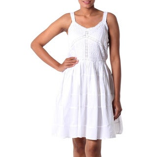 Handcrafted Cotton 'Snow White Blossoms' Dress (India)