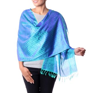 Handcrafted Varanasi Silk 'Forever Azure' Shawl (India)