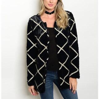 JED Women's Black Patterened Vegan Fur Long-sleeve Coat