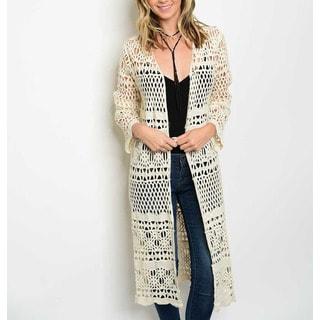 JED Women's Cream Cotton Crochet Long-sleeve Long-length Cardigan