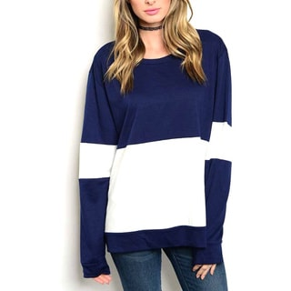JED Women's Colorblock White/Navy Rayon/Spandex Oversized Top
