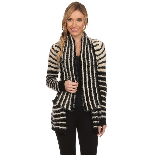 High Secret Women's Block Color Striped Fluffy Knit Cardigan