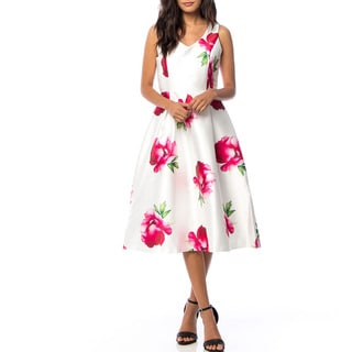 JED Women's Floral Polyester Sleeveless V-neck Fit and Flare Midi Dress