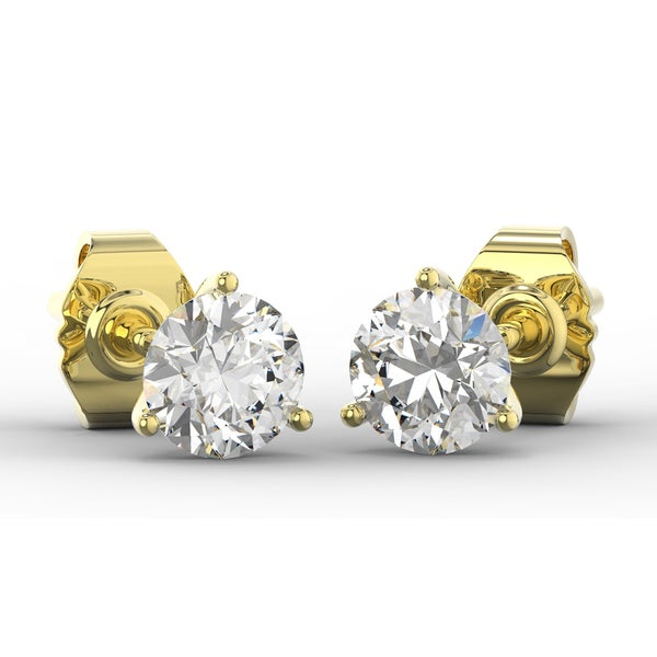 1 2 Carat Lab Grown Diamond Stud Earrings In 14 Karat Yellow Gold