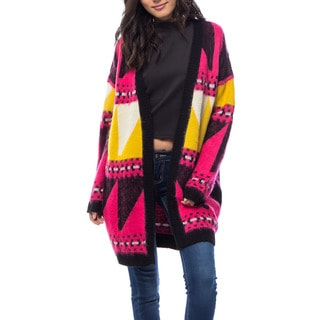JED Women's Multicolor Print Acrylic Fuzzy Oversized Long Cardigan