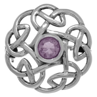 Carolina Glamour Collection Sterling Silver Round Celtic Thistle Brooch Pin with Gemstone