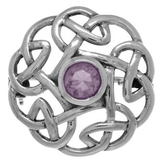 Sterling Silver Round Celtic Thistle Brooch Pin with Gemstone