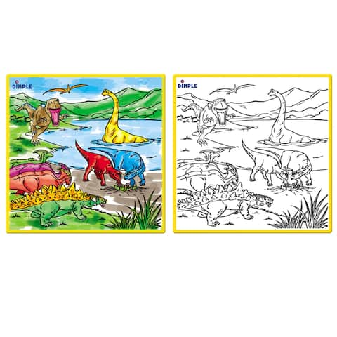 Dimple Kids Small Washable Coloring Play Mat with Optional Design, Along with 12 Washable Markers