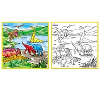Dimple Kids Small Washable Coloring Play Mat with 'Jurassic Dinosaur Era' Design, Along with 12 Washable Markers