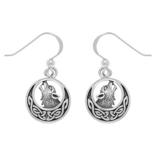 Carolina Glamour Collection Sterling Silver Howling Wolf Celtic Moon Dangle Earrings