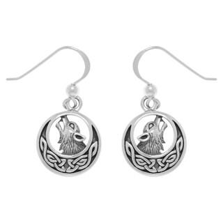 Sterling Silver Howling Wolf Celtic Moon Dangle Earrings