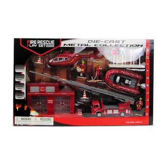 Puzzled Muticolor Metal Fire Rescue Toy Figure Playset