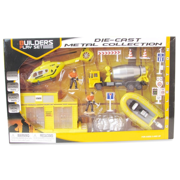Puzzled Multicolor Metal Construction Workers Toy Figure Playset