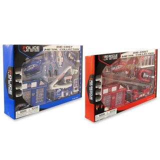 Puzzled Fire Rescue and Police Toy Vehicles and Figures Playsets