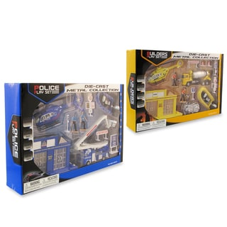 Puzzled Construction Workers and Police Toy Figure Playsets