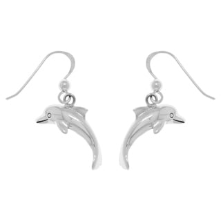 Carolina Glamour Collection White Sterling Silver Jumping Dolphins Dangle Earrings