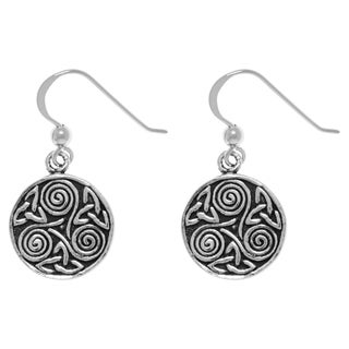 Carolina Glamour Collection Sterling Silver Celtic Triskele Trinity Knot Dangle Earrings