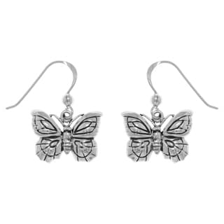 Carolina Glamour Collection Sterling Silver Spring Butterfly Dangle Earrings