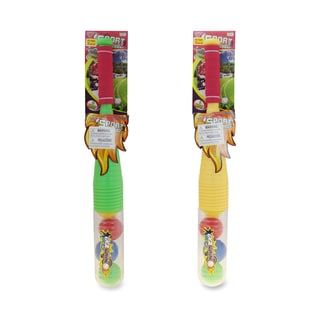 Puzzled Green and Yellow Plastic Baseball Bat and Balls Play Set