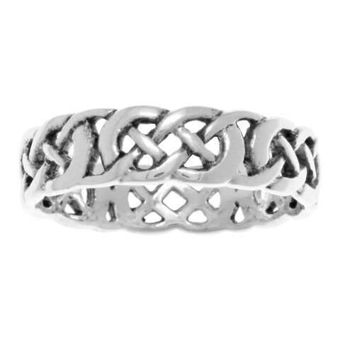 Sterling Silver Celtic Filigree Knotwork Band Ring