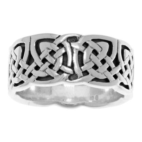 Sterling Silver Celtic Weave Knotwork Band Ring