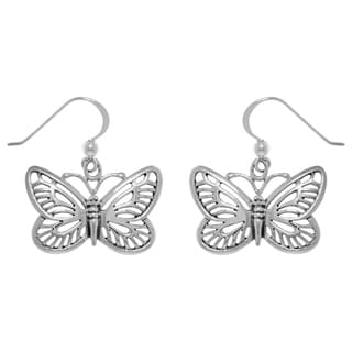 Carolina Glamour Collection Sterling Silver Butterfly Dangle Earrings
