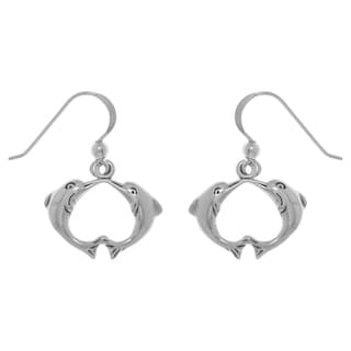 Carolina Glamour Collection Sterling Silver Kissing Love Dolphins Dangle Earrings
