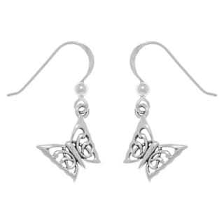 Carolina Glamour Collection Sterling Silver Petite Butterfly Dangle Earrings