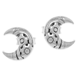 Carolina Glamour Collection Sterling Silver Petite Crescent Moon Stud Earrings