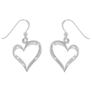 Carolina Glamour Collection Sterling Silver and Cubic Zirconia Ribbon Heart Dangle Earrings