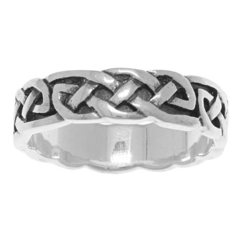 Sterling-silver Endless Celtic Knotwork Band Ring