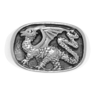 Sterling Silver Royal Dragon Seal Signet Ring (More options available)