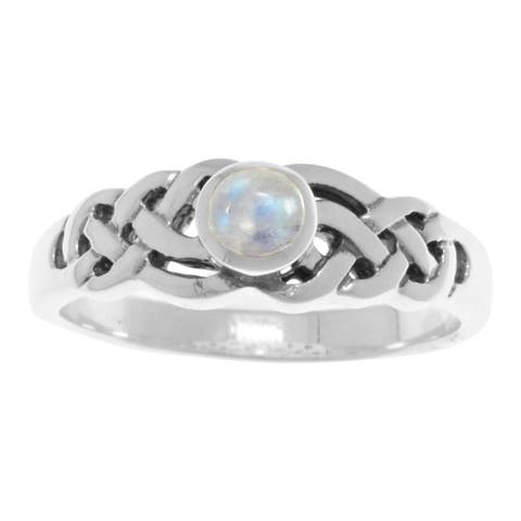 Carolina Glamour Collection Sterling Silver Moonstone Celtic Knot Ring