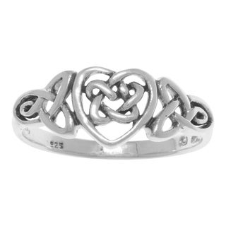 Sterling-silver Celtic Trinity Heart Ring