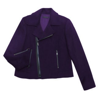 Elie Tahari Women's Mae Purple Nylon and Wool Coat