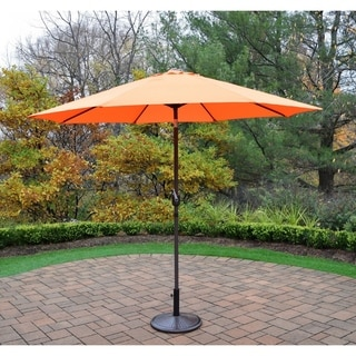 Oakland Living Corporation Orange/Brown Cast Iron/Polyester 9-foot Outdoor Umbrella with Stand