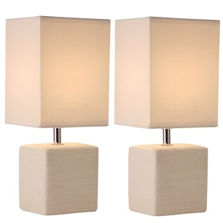 Set of 2 Square White Ceramic Table Lamps with Fabric Shades